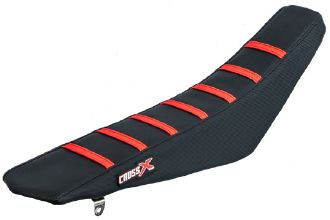 Crossx Seat Cover Stripes Black - Black - Red